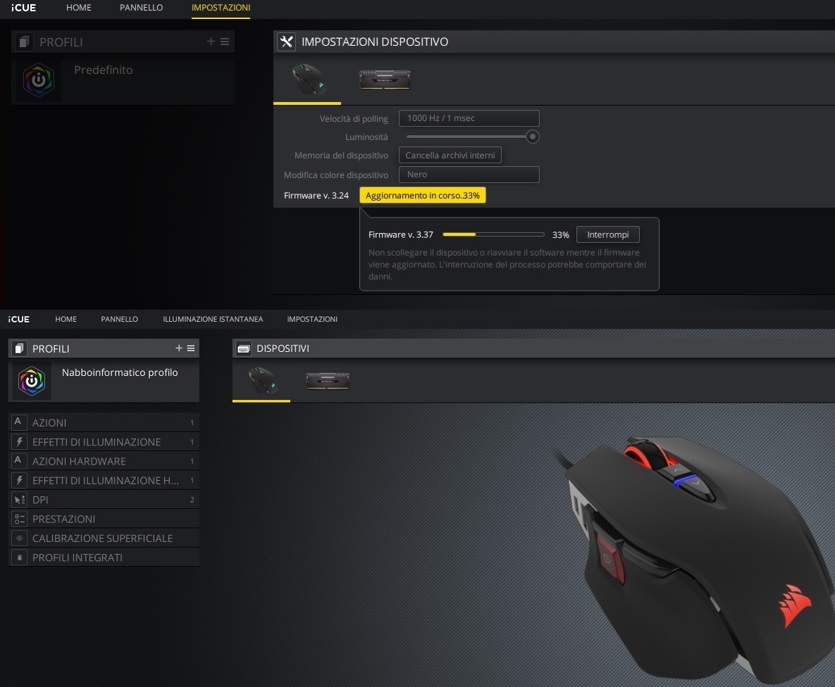 Software_Corsair_Icue_aggiornamento_firmware_mouse_gaming_M65_RGB_ELITE